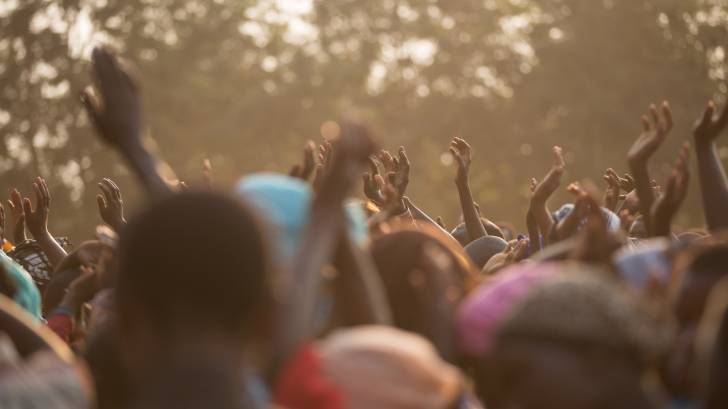 cheering african people for the Merck ebola drug