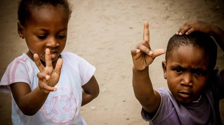 2 young children in africa congo