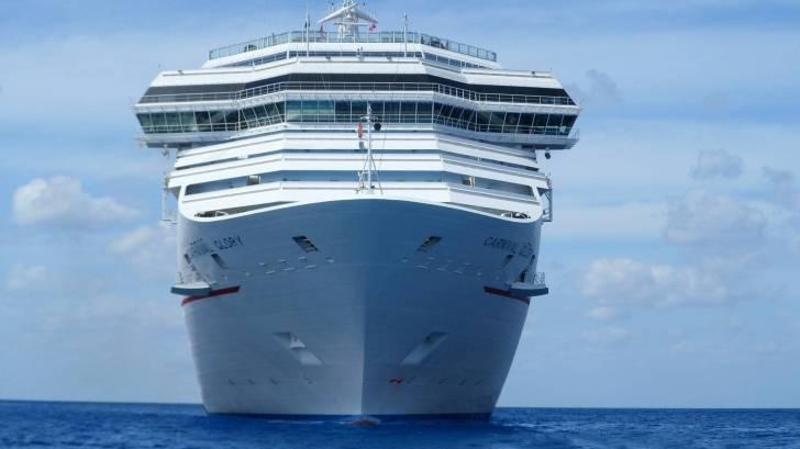 cruise ship in the open blue seas