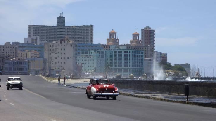 Cuba city scene with surf