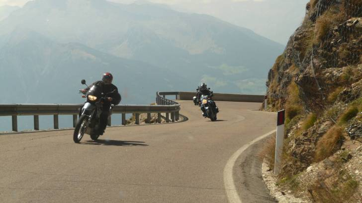 motorcyclists on a mountain pass