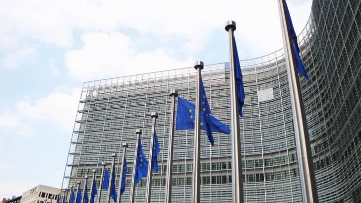 EU building and the flags for the EU