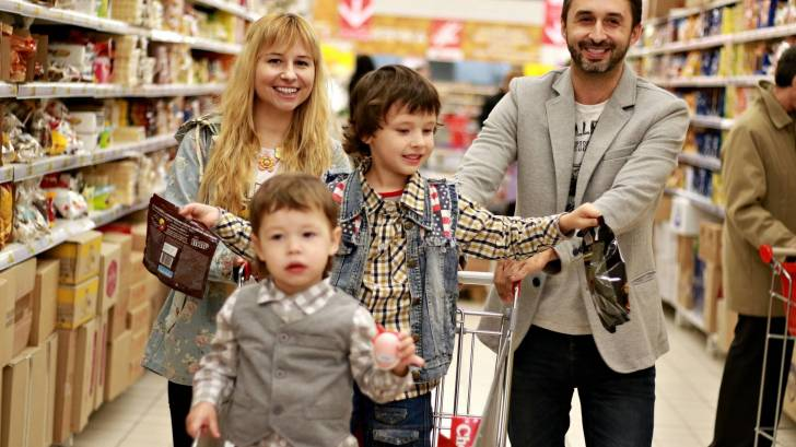 family shopping in a grocery store