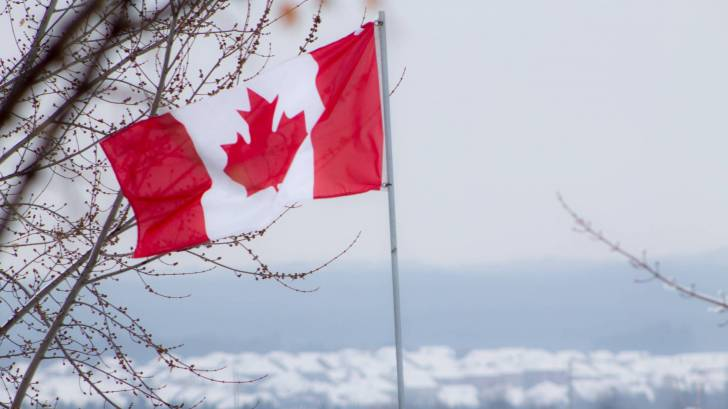 Canadian flag on a winter day