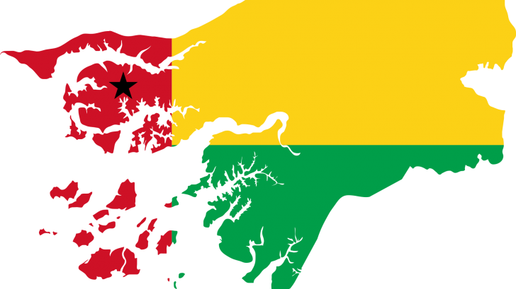 map of guinea bissau in the colors of their flag