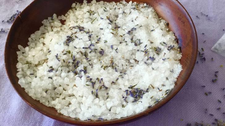 bowl of white bath salts