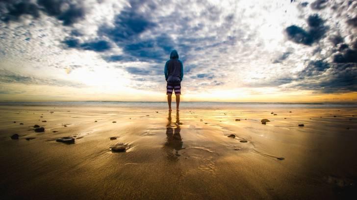 solitary person on malibu beach