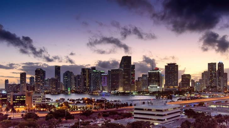 miami city at dusk