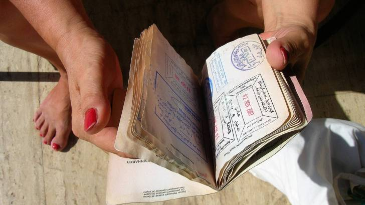 passport stamped with visa stamps