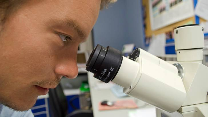 man looking through a microscope