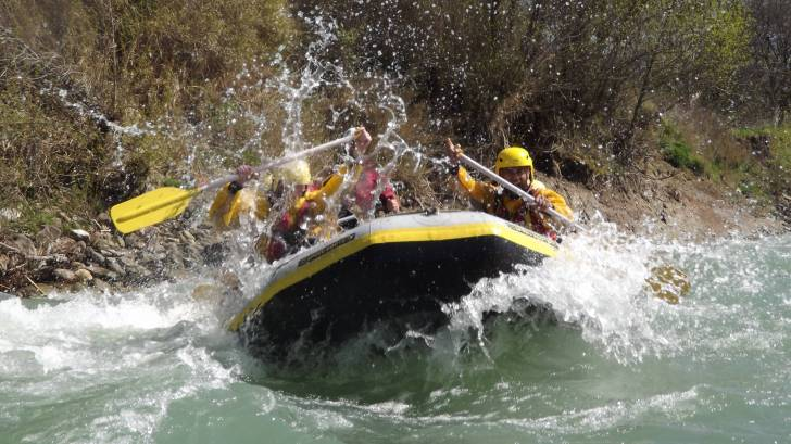 rafting down rapids