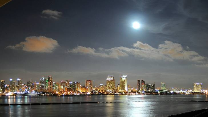 moon over san diego bay