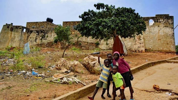 west africa village young children