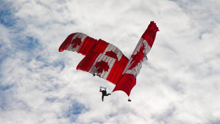 candian sky dive team with flags