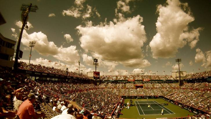 view from far seats of a professional tennis court