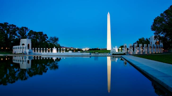 Washington monument and reflecting pool at dusk