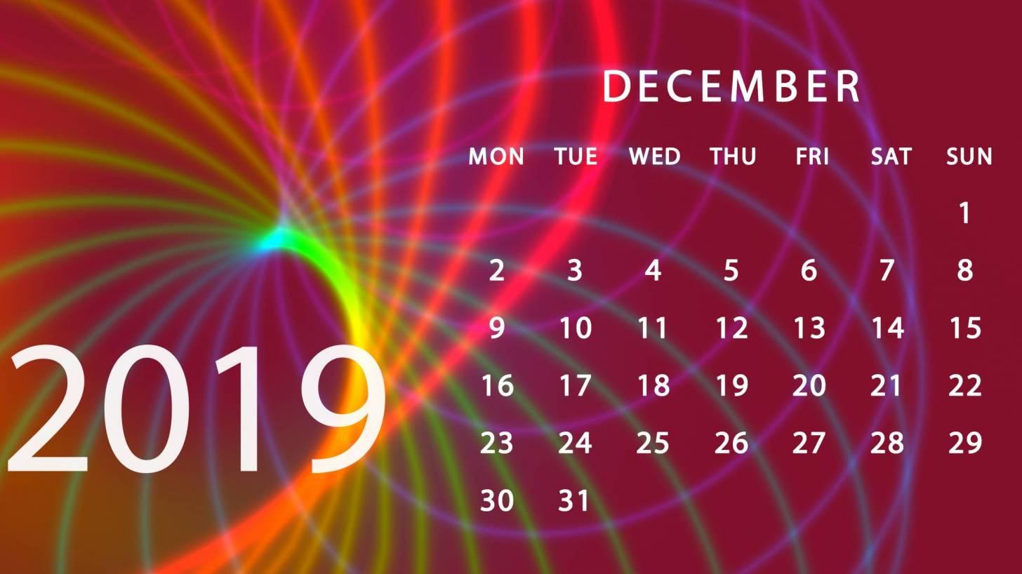 2019 december calendar