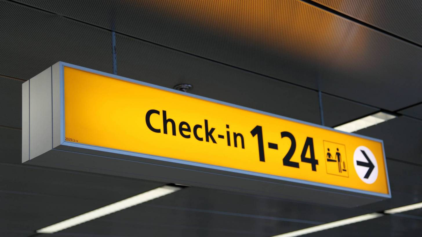 airport check in sign