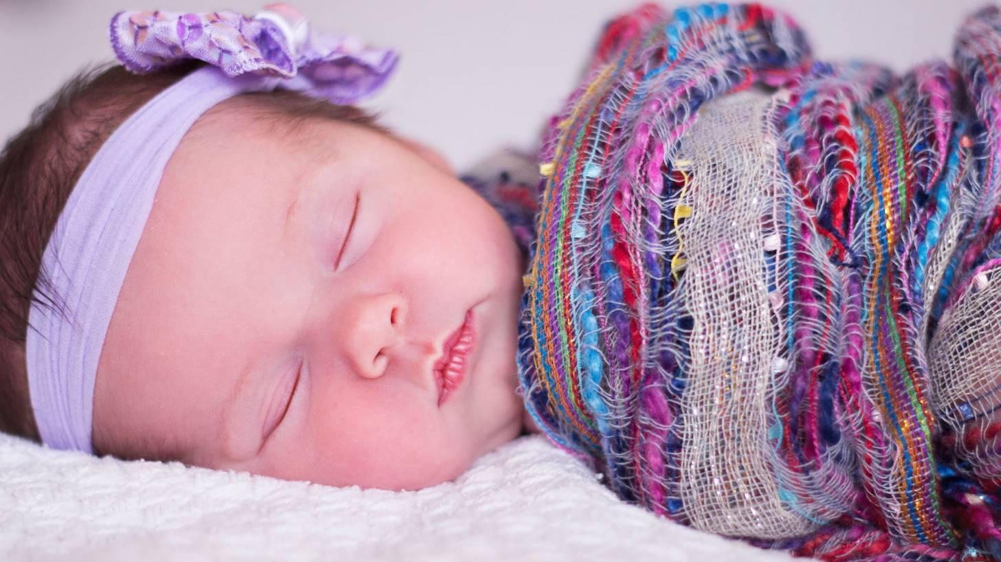 cute baby girl sleeping and healthy
