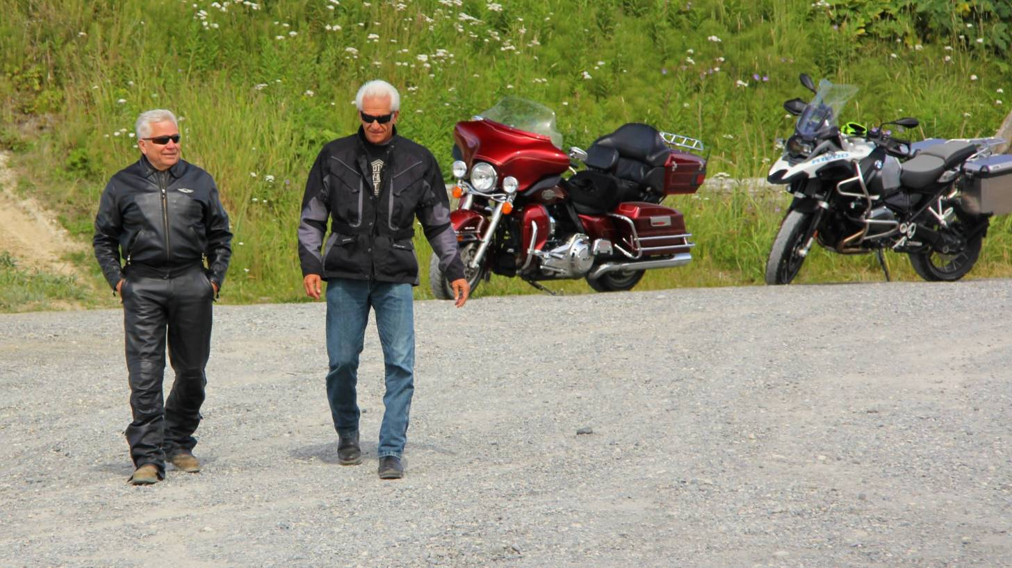 baby boomers, men, riding motorcycles.