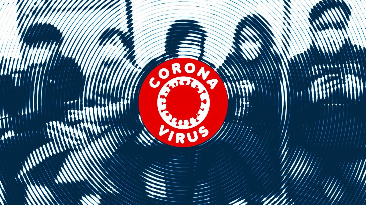 photo of subway with coronavirus symbal