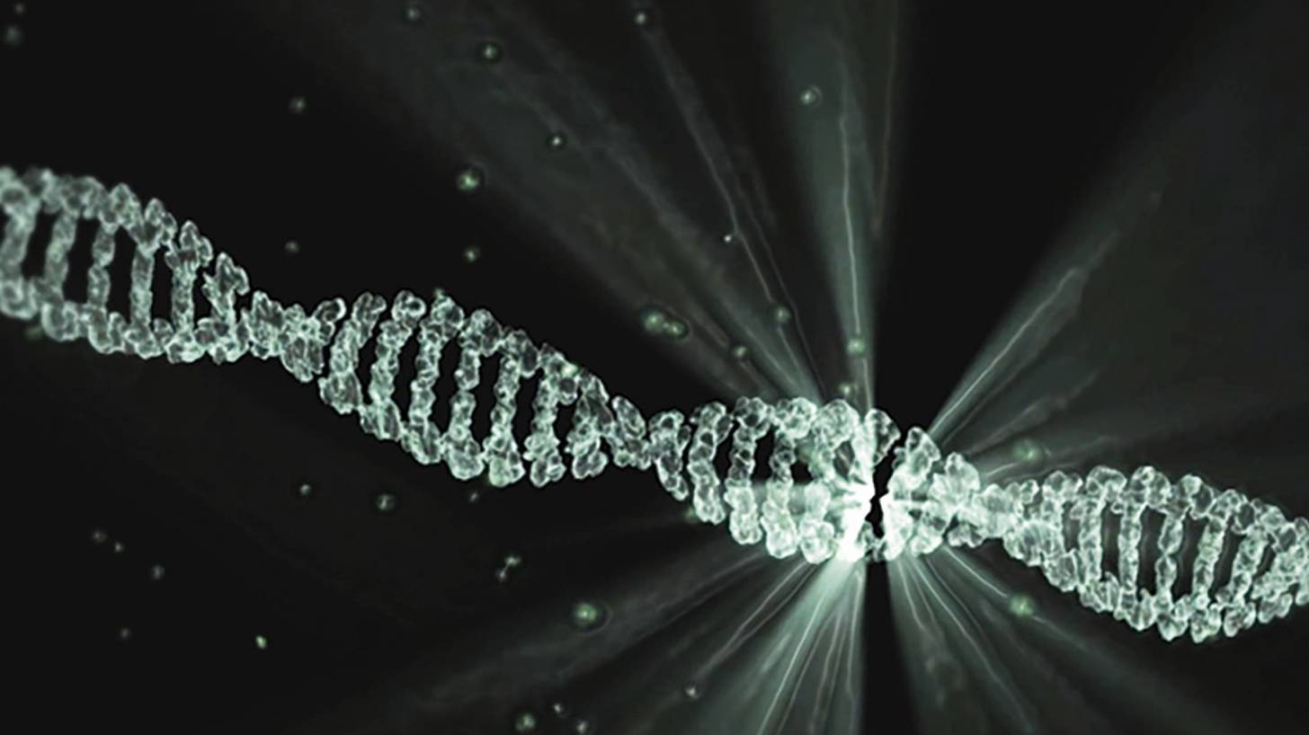 dna strand with light on it