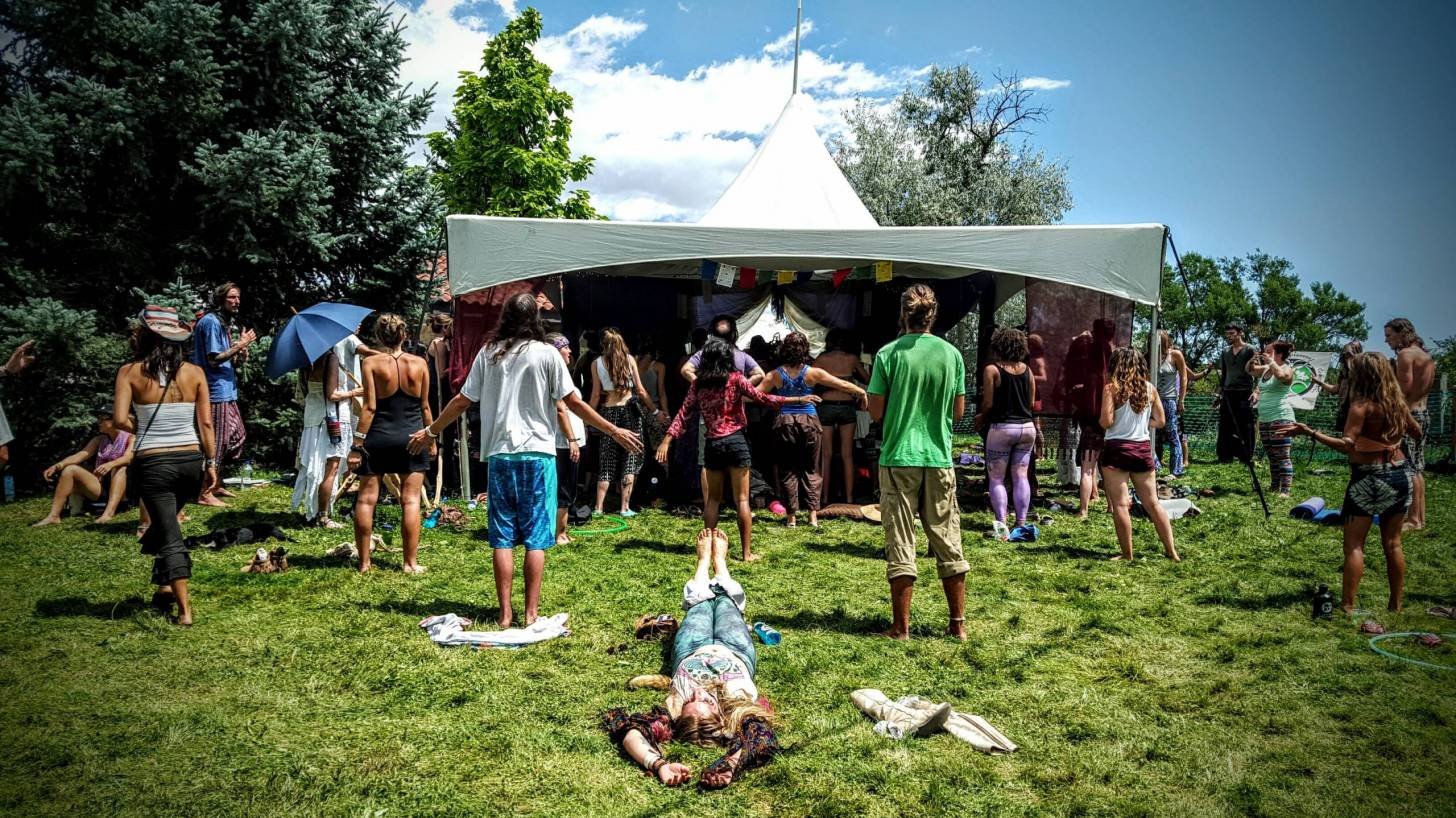 hippie party in the field