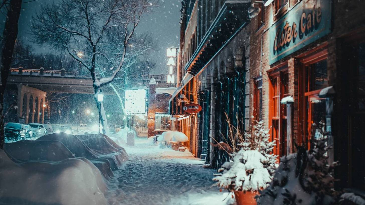 winter scene in michigan