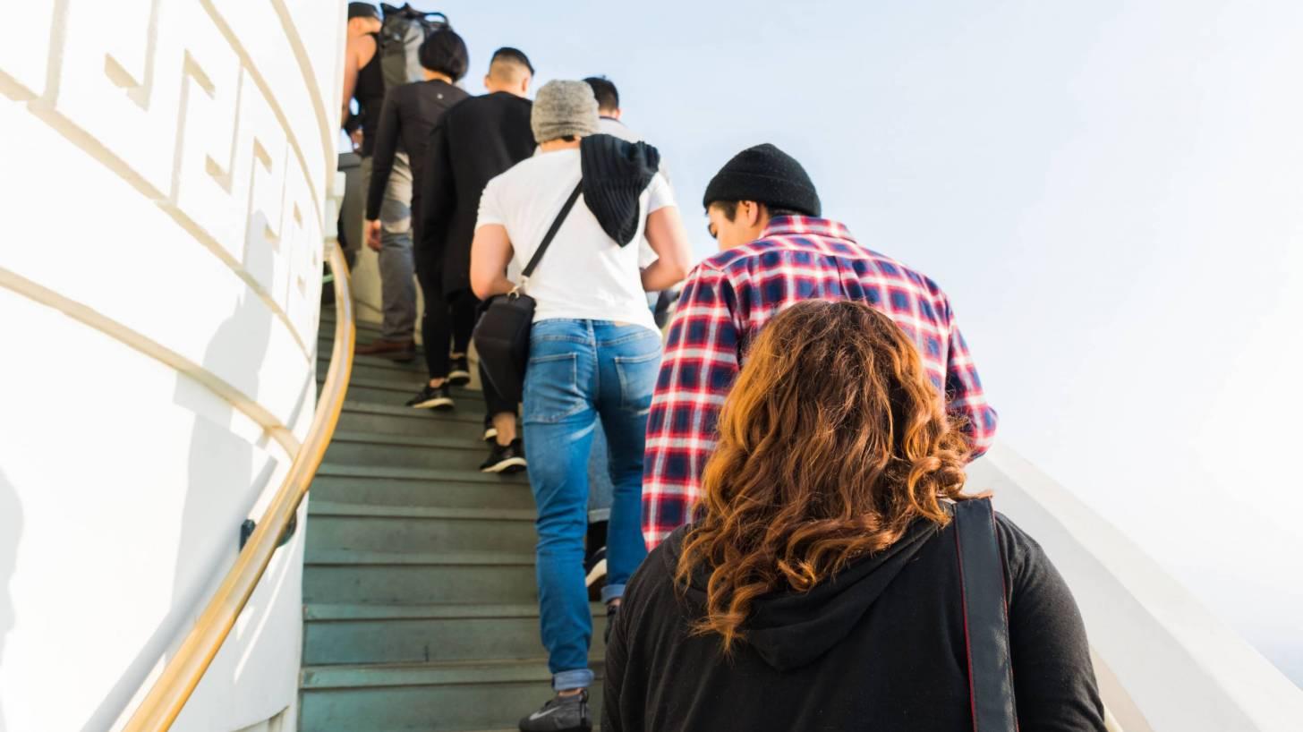people in a queue