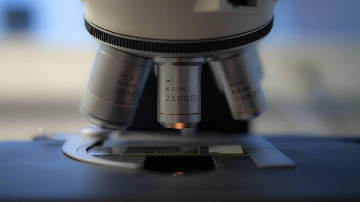 microspope in medical lab