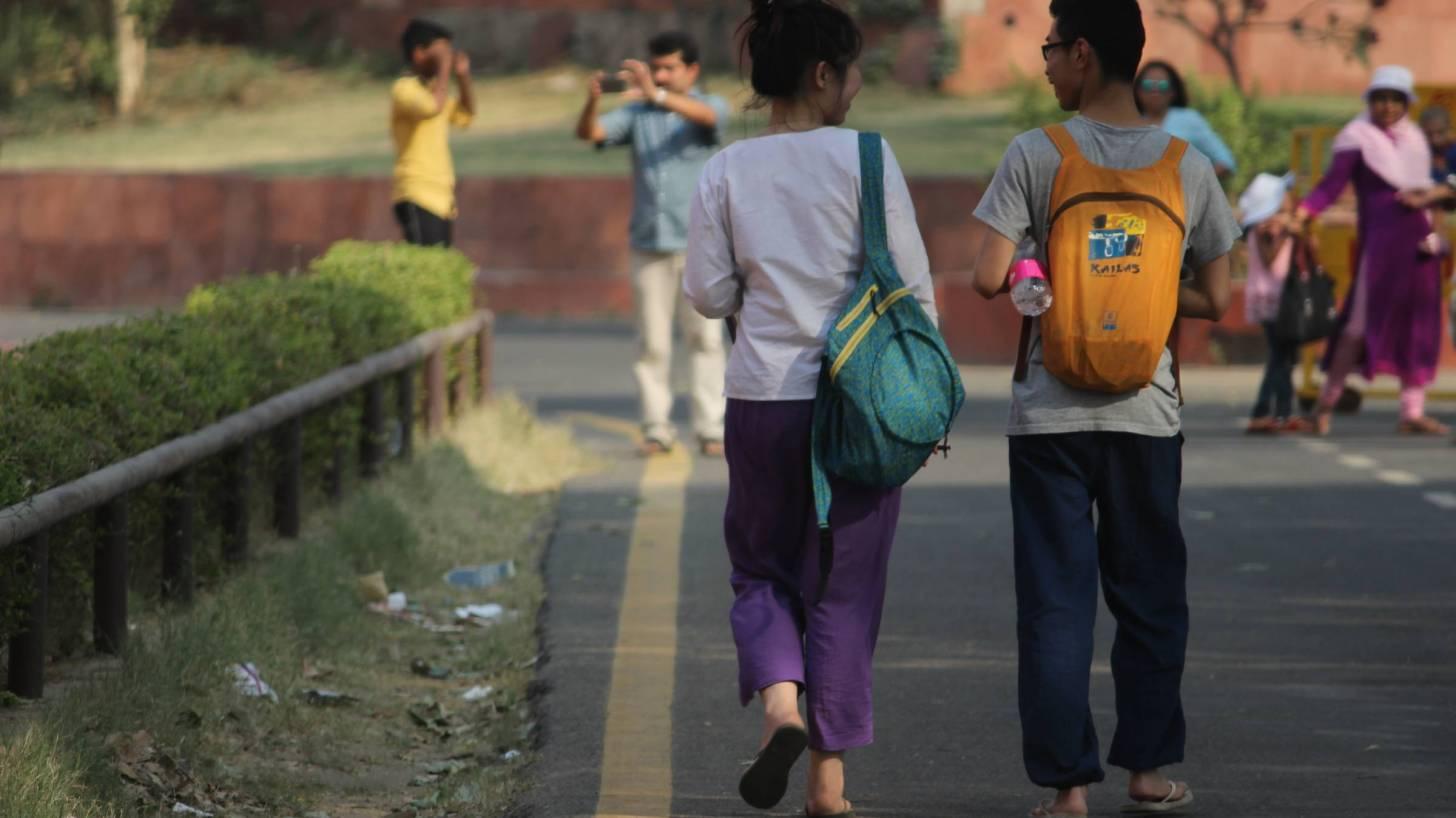 indian students walking