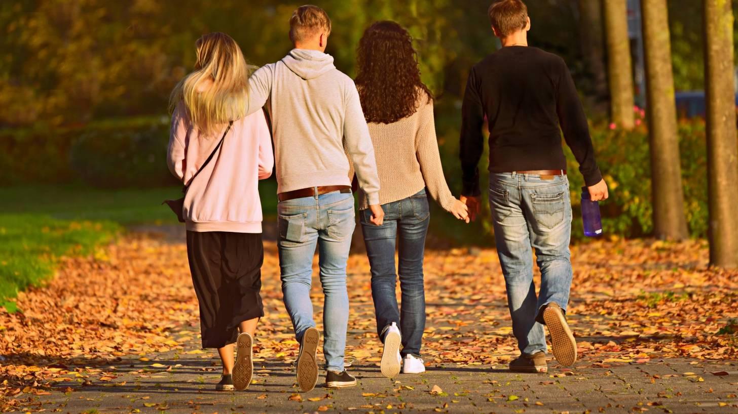 4 people walking in a park