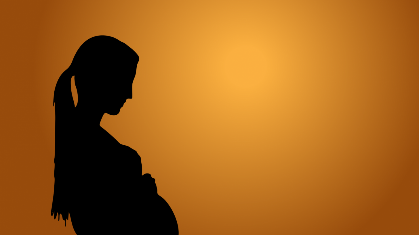 pregnant women and the sun setting