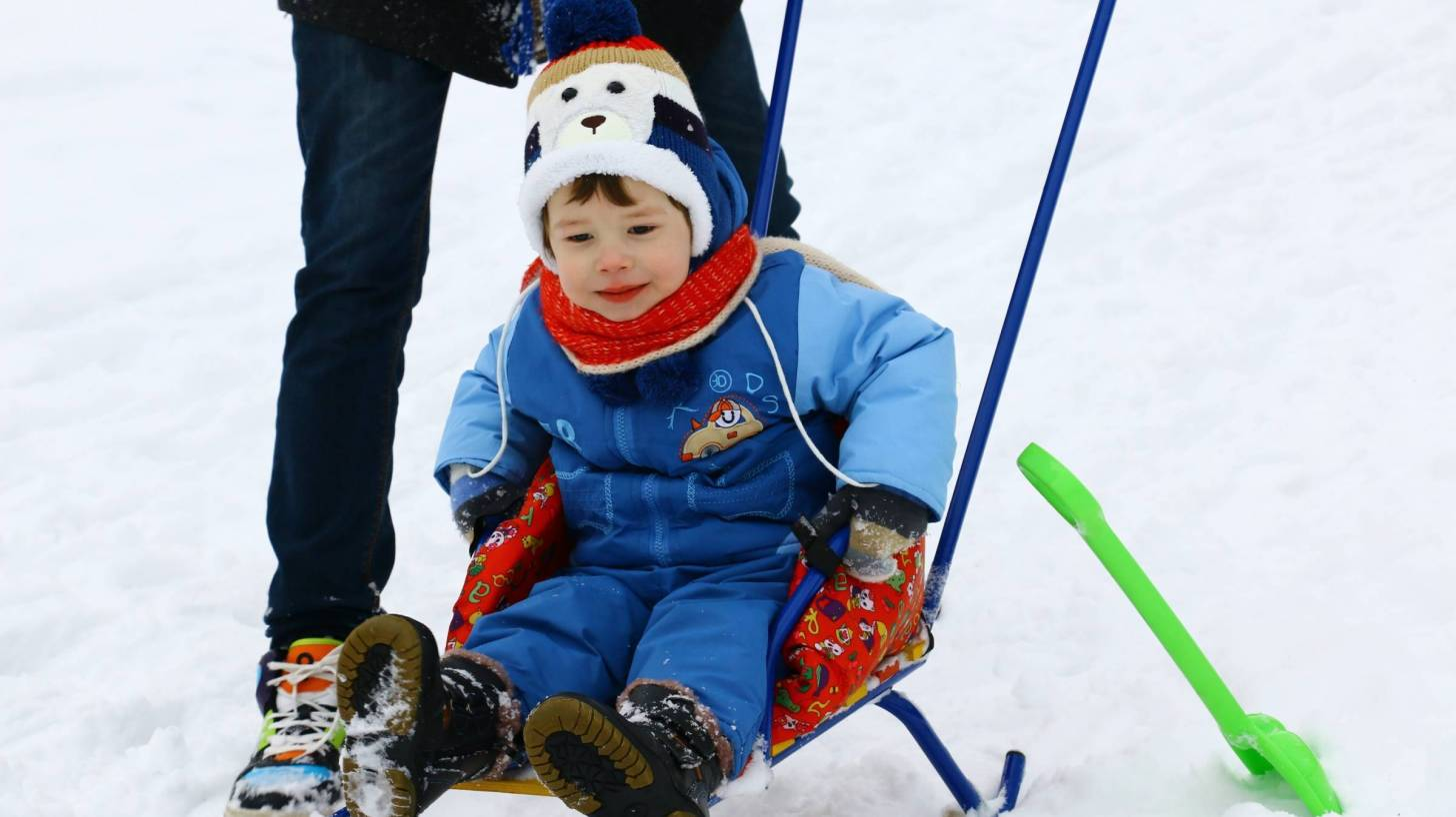 little boy on a sled in the snow