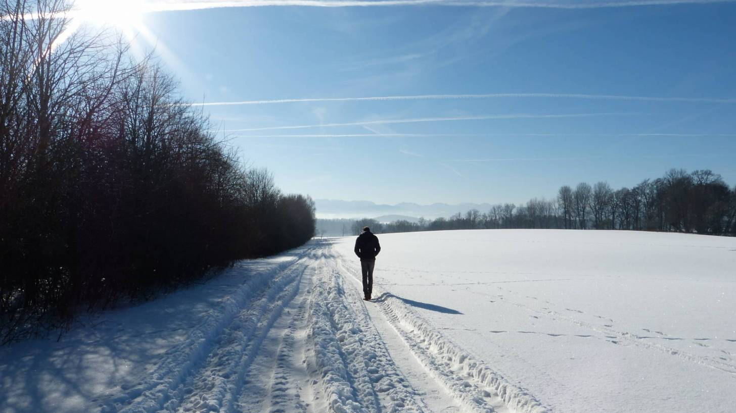 man walking sunny day cold snow