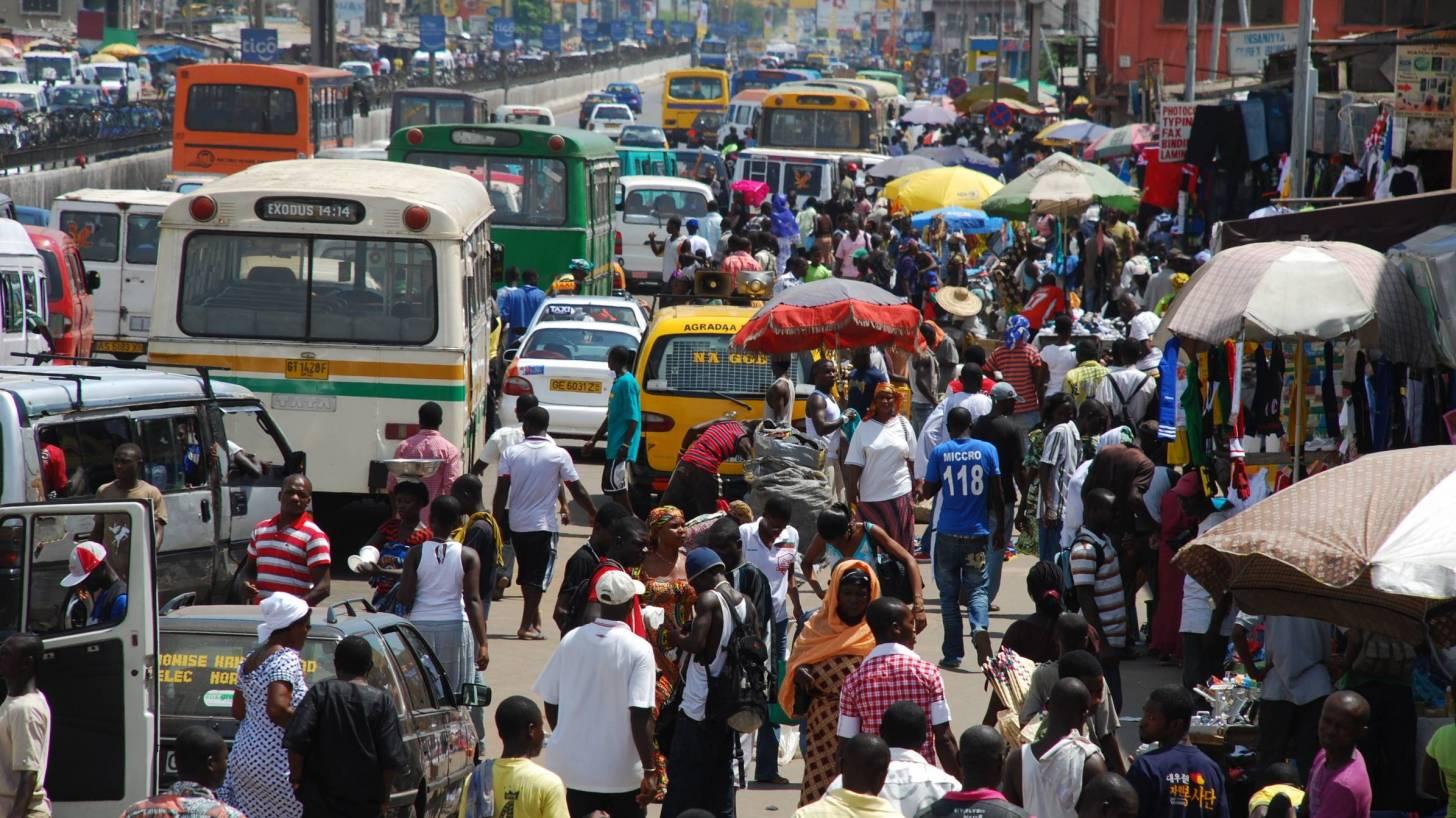 city of Ghana busy streets