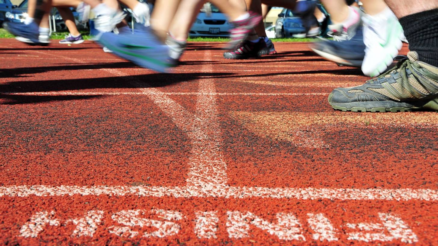 finish line of a track meet