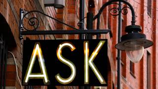 ask sign on a pharmacy light