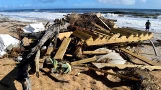 beach debrise from a hurricane
