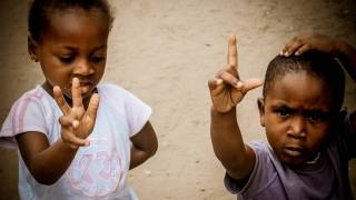 2 young children in africa congo