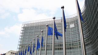 EU building and the flags for the EU