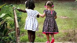 young girls walking together
