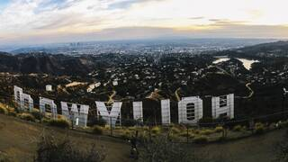 hollywood sign in california, from behind
