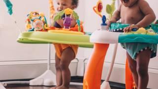 young children in bouncy seats