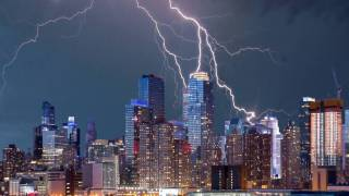 NYC skyline with lightening striking