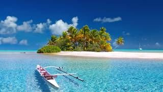 island, clear water, boat