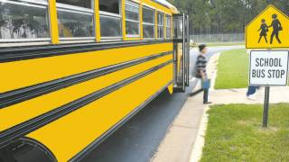 school bus and child