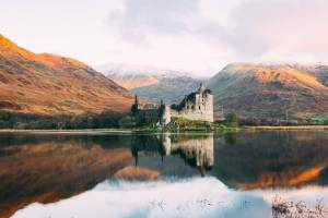 scottish castle on a lake