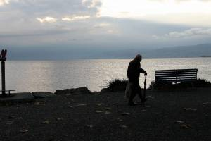 dawn is rising, man walking with a cane near the sound