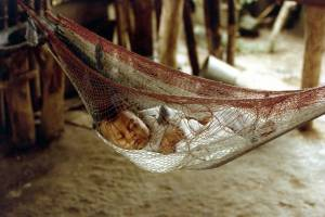 baby napping in netting protected from mosquitoes